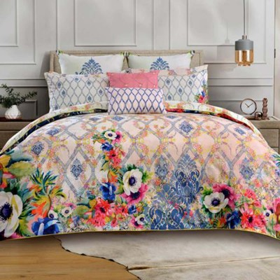 Multicolour Damask Botanic Queen Size Quilt Cover-091224261Y1N