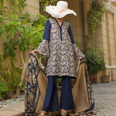 3 pcs Multicolour Printed Unstitched Lawn Suit