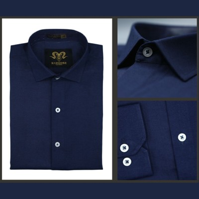 Navy Blue Chambray Cotton Slim Fit Formal Shirt