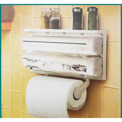 3 In 1 Kitchen Shelf Frame Plastic Film Triple Paper Dispenser Preservative Film Spice Shelf