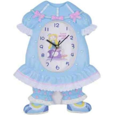 Cute Wall Clock for Kids Moving Legs Pendulum Music Sound Silent - Blue