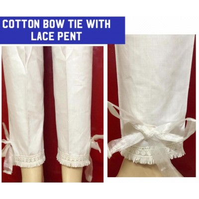Cotton Boe Tie Lace Pant