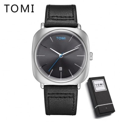 Tomi T084 Black - Silver Leather Watch For Men- Women