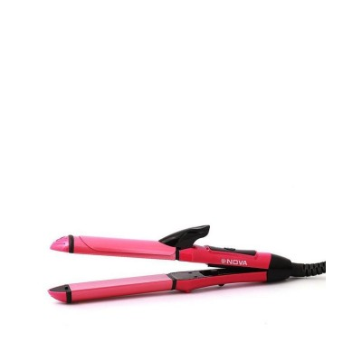 2 in 1-Hair Curler and Straightener-Pink
