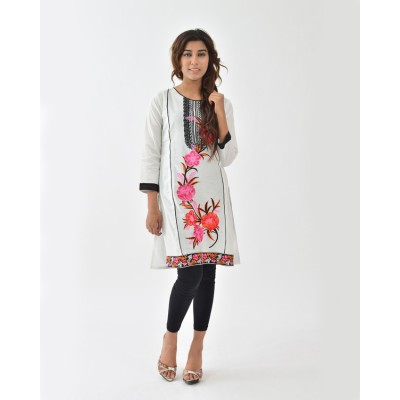 Off-White Boat Neck Embroidered Cotton Stitched Kurti - DC3-3
