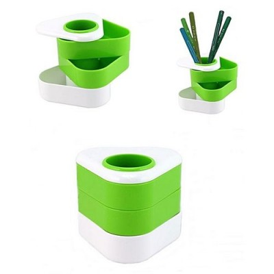 Pen/Pencil Holder/ Desk Organizer With Rotating Drawers