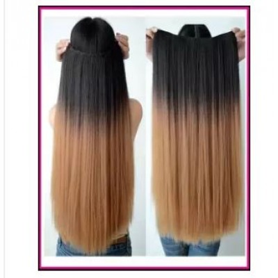 Clip-in Dip Dye Ombre Hair Extensions Black to Light brown - 30 INCH