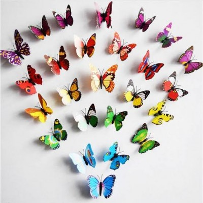 Pack of 10 - 3D Simulated Decorative Butterfly Magnets Fridge Magnetic Stickers