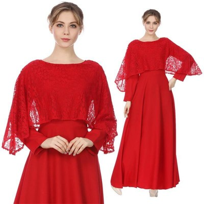 Red Long Sleeve Vintage Dress Solid Lace Patchwork O Neck Casual Women Maxi Dress
