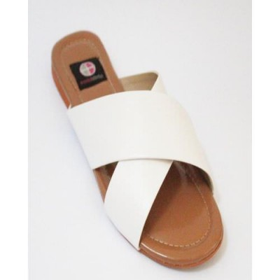White Leather Cross Strap Casual Chappal