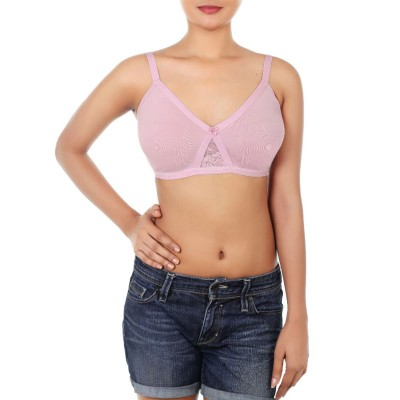 Wirefree Super Support Bra With Touch Of Lace - Dawn Pink
