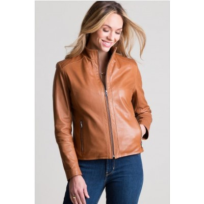 Tan Women Real Sheep Leather Jacket