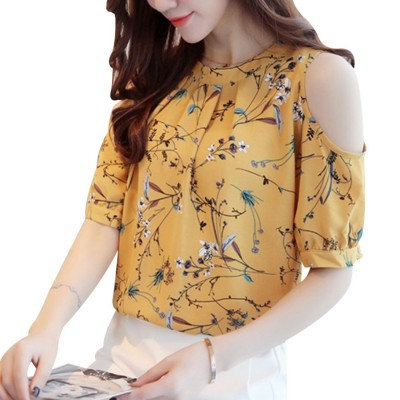 Yellow Women Cold Shoulder Chiffon Floral Printed Blouse
