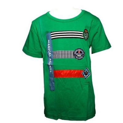 Round Neck-Short Sleeve- Knit Fabric Lacra-Printed-Green Baby Boys T-Shirt