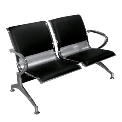 Blacl and Silver 2 Seater Reception Bench