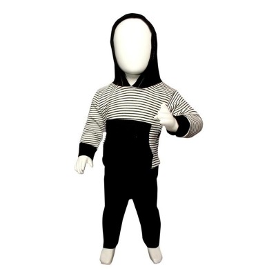 Pullover & Contrast Pocket Hoodie Suit For Baby