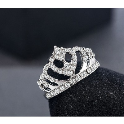 Silver Crown Shape Rhinestone Crystal Ring