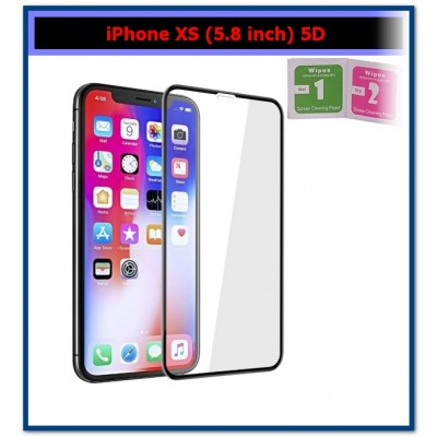 iPhone XS (5.8 inch) 5D Tempered Glass Full Edge Screen Protector - Black