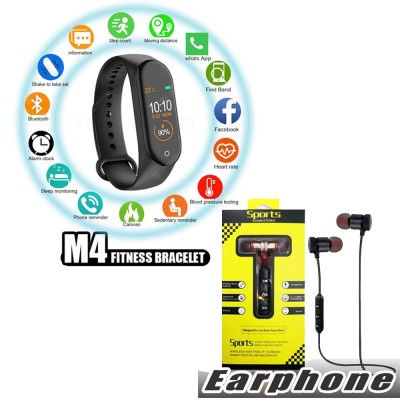Bundle of 2 - M4 Intelligence Bluetooth Health Wrist Smart Band Watch + Magnetic Bluetooth Wireless Stereo In-Ear Sports Handfree / Earphone