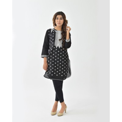 Black Round Daman White Embroidered Cotton Stitched Kurti - DC4-1