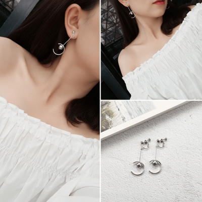 Silver - Circle Pearl Drop Earring For Women Ladies - High Quality - AE101