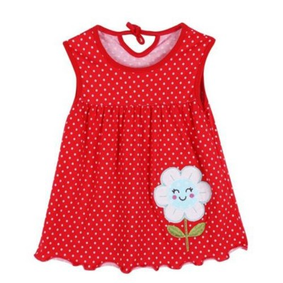 Red Dots Cute Baby Girl Sleeveless Flowers Printed Frock for Age 6-12 Months