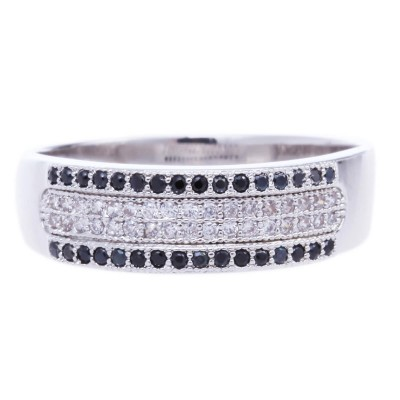 Silver Micro Pave Cubic Zirconia Metal Ring-UA786160PK