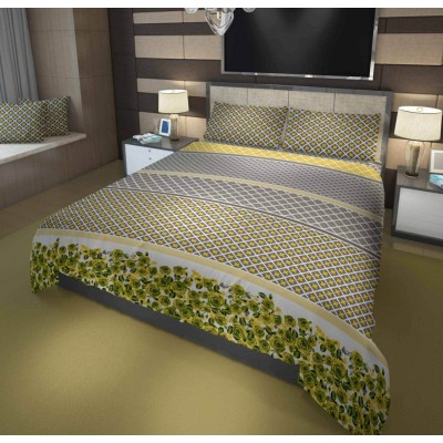 3 Pieces Printed Cotton Bed Sheet(Multi Color)