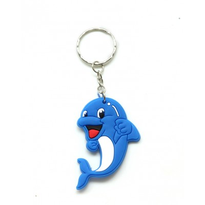 Cute Soft Blue Dolphin Rubber KeyChain