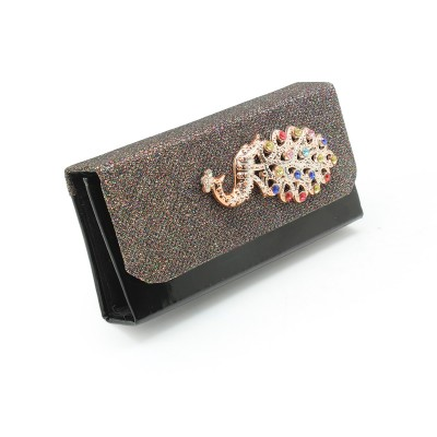 Crystal Peacock Bunch On Front unique design - Casual & party use Flapper Hand Clutch For Girls - Black Color - BG288