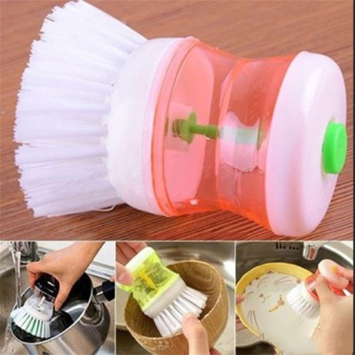 Kitchen Wash Tool Pot Dish Plastic Brush With Washing Up Liquid Soap Dispenser