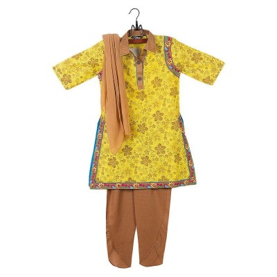 Yellow Cotton Suit For Girls - 3 Pcs - GS-403