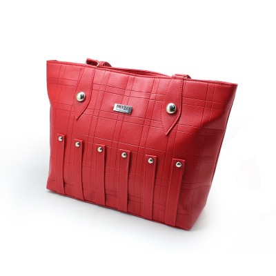 Red Color Artificial Leather  Hand Bag for Girls BG-196