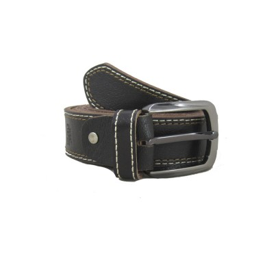 Dark Brown Leather Double Stitched Belt for Men