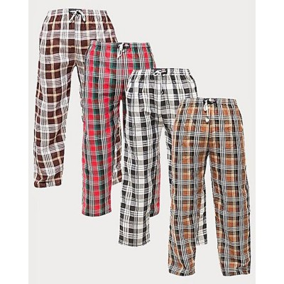 Pack of 4-Multicolor Cotton Checkered PajamaBottoms