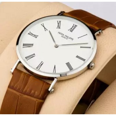 Patek Philippe Geneve Slim Leather Strap Watch For Men With Free Gift Box