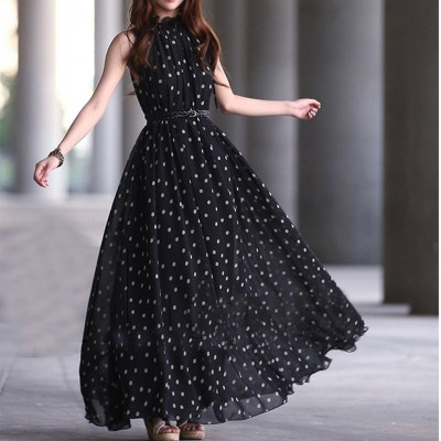 Black Sleeveless Polka Dot Boho Long Maxi Chiffon Dress With Belt