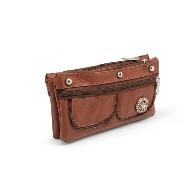 Crystal Bunch On Front In Zips Design - Casual Hand Clutch For Girls  With Extra Pockets - Dark Brown color - BG247