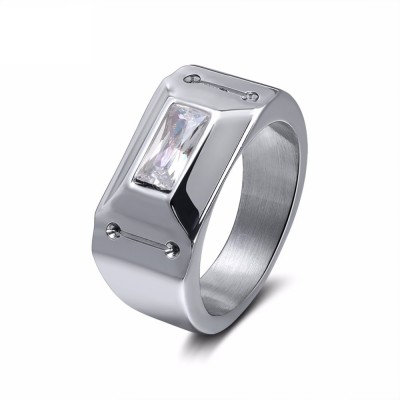 Trendy Wedding Band Silver Color Stainless Steel Zircon Promise Ring