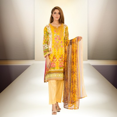 Yellow Floret Embroidery And Printed Lawn Un-Stitched Suit 3 Piece Lawn Suit With Lawn Dupatta For Women - Lawn Dress Collection