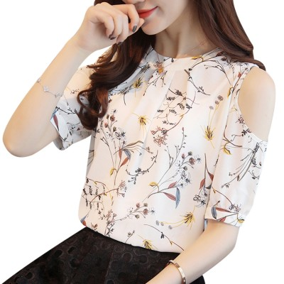 White Women Cold Shoulder Chiffon Floral Printed Blouse