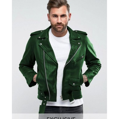 Green Faux Leather High street Jacket