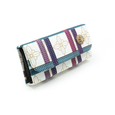 Crystal Bunch On Front unique check design - Casual Flapper Hand Clutch For Girls - multicolor - BG283