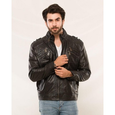 Black Sheep Leather Stylish Zipper Men Jacket MJ-500