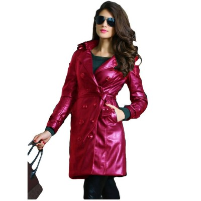 Maroon Leather Long coat