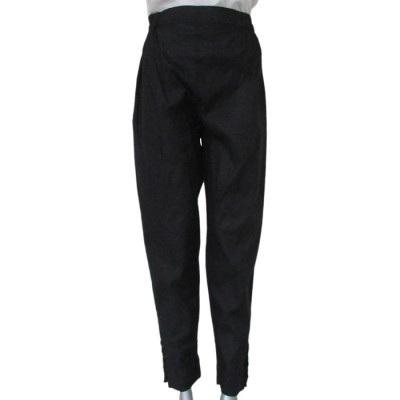 Black Capri Trouser With Buttons On The Side
