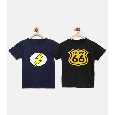 Pack Of 2 - Flash Navy & Route66 Black T-Shirt For Boys - FN1-RB1
