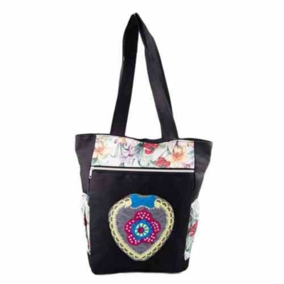 "Flowers Handbag for School and College - 15x14"" - Black and White"