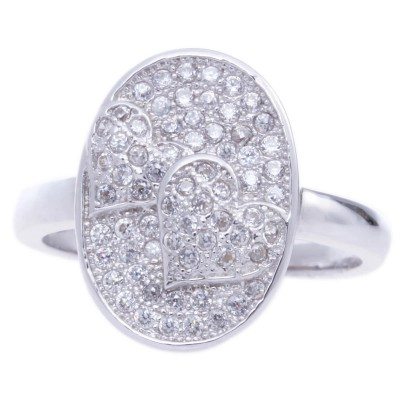 Silver Micro Pave Cubic Zirconia Metal Ring-UA786148PK