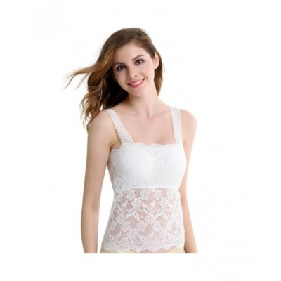 White Sleeveless Lace Neck Edge Full Cup Padded Wire Free Tank Top Bra
